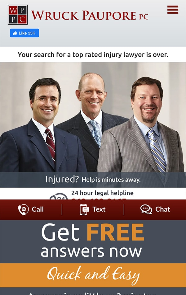 Mobile Friendly Law Firm Webiste for Wruck Paupore PC