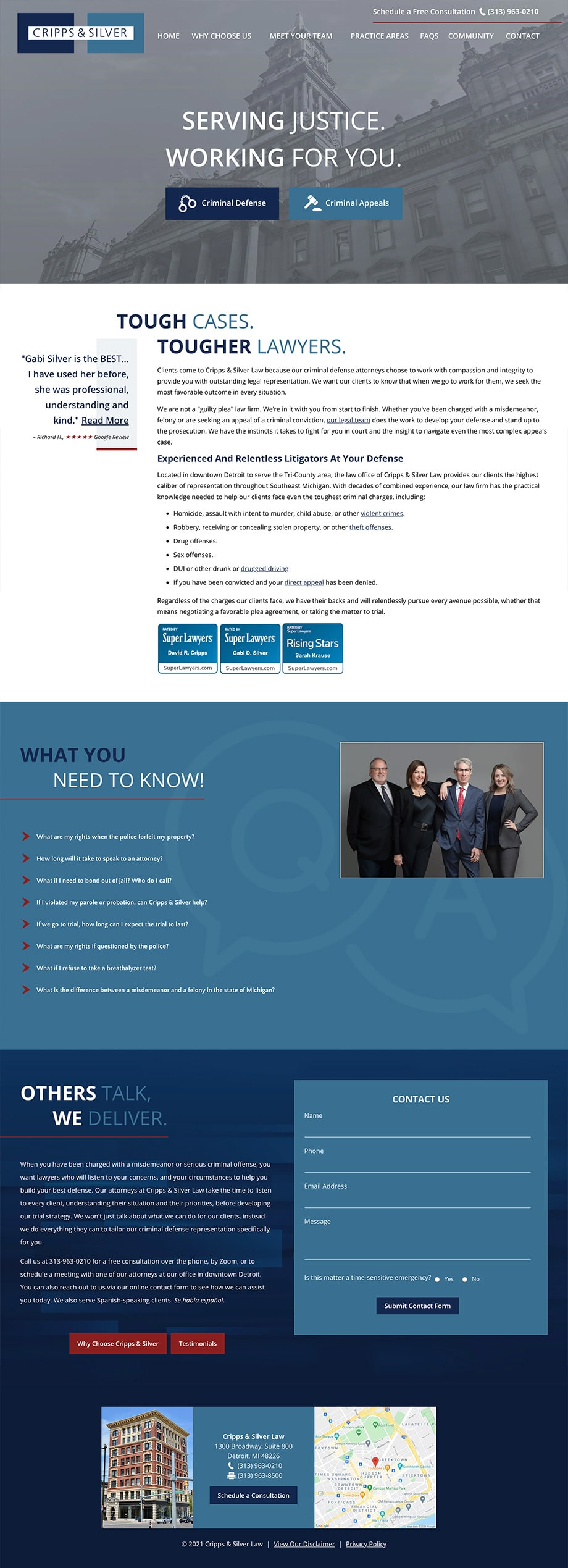 Law Firm Website Design for Cripps & Silver Law