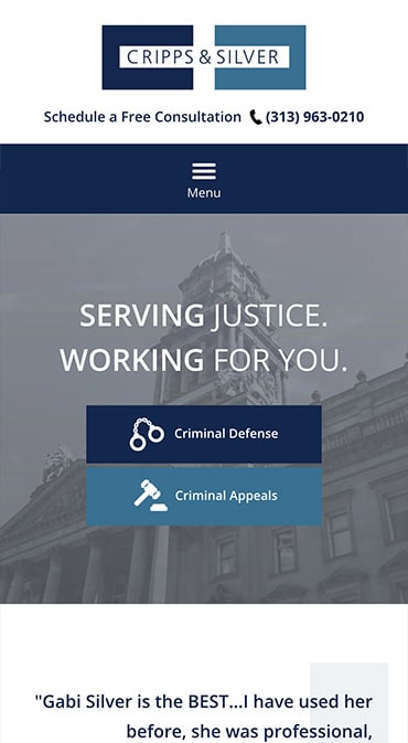 Responsive Mobile Attorney Website for Cripps & Silver Law