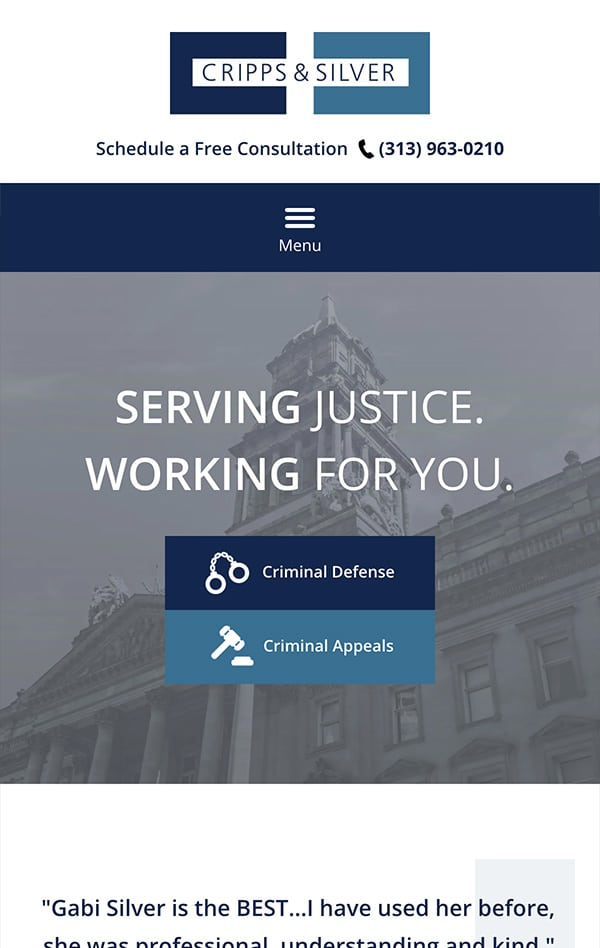Mobile Friendly Law Firm Webiste for Cripps & Silver Law