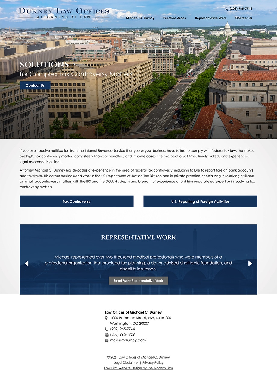 Law Firm Website Design for Law Offices of Michael C. Durney