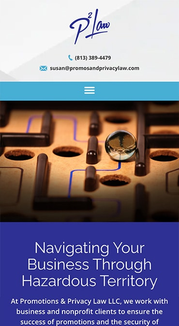 Responsive Mobile Attorney Website for Promotions & Privacy Law LLC