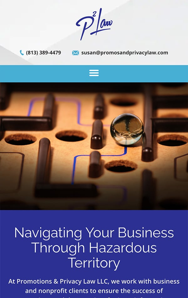 Mobile Friendly Law Firm Webiste for Promotions & Privacy Law LLC
