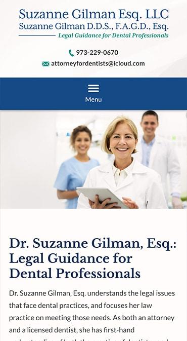 Responsive Mobile Attorney Website for Suzanne Gilman Esq. LLC