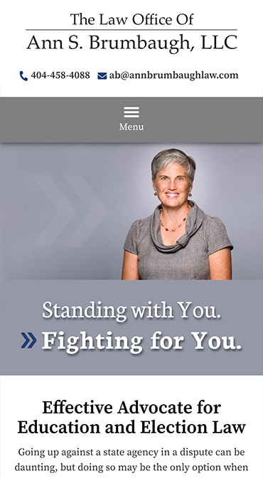 Responsive Mobile Attorney Website for The Law Office of Ann S. Brumbaugh, LLC