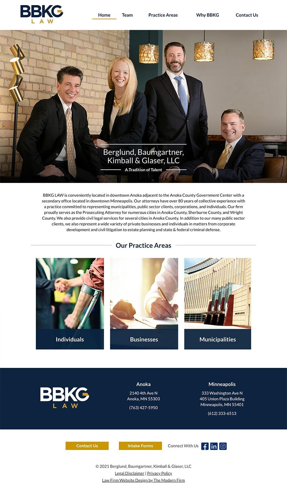 Law Firm Website Design for Berglund, Baumgartner, Kimball & Glaser, LLC