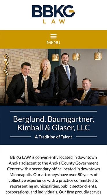Responsive Mobile Attorney Website for Berglund, Baumgartner, Kimball & Glaser, LLC