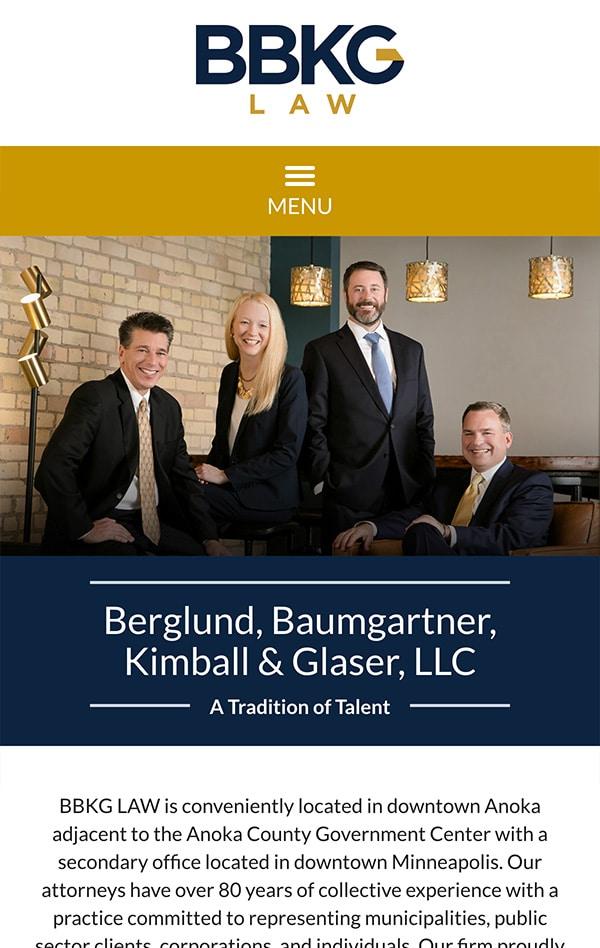 Mobile Friendly Law Firm Webiste for Berglund, Baumgartner, Kimball & Glaser, LLC
