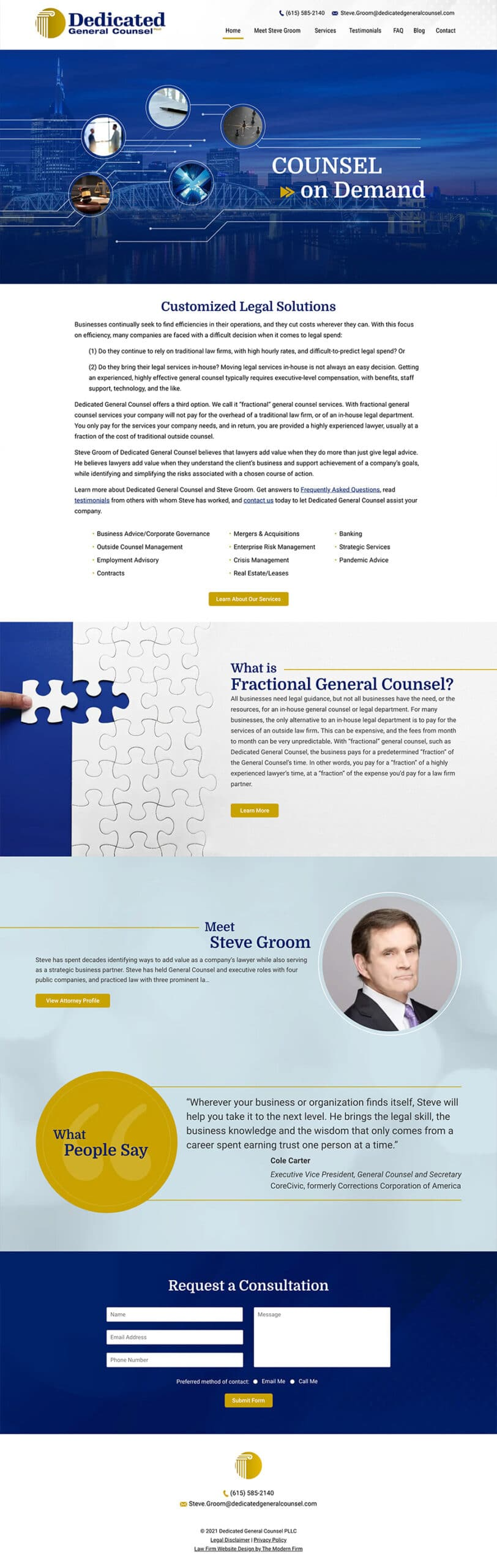 Law Firm Website Design for Dedicated General Counsel PLLC
