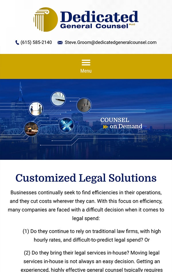 Mobile Friendly Law Firm Webiste for Dedicated General Counsel PLLC