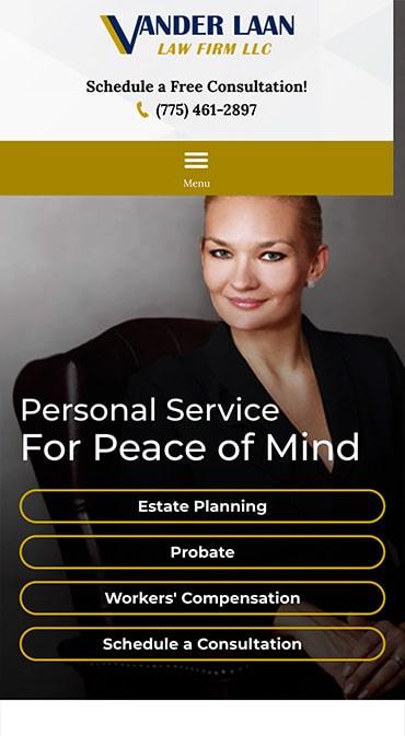 Responsive Mobile Attorney Website for Vander Laan Law Firm LLC