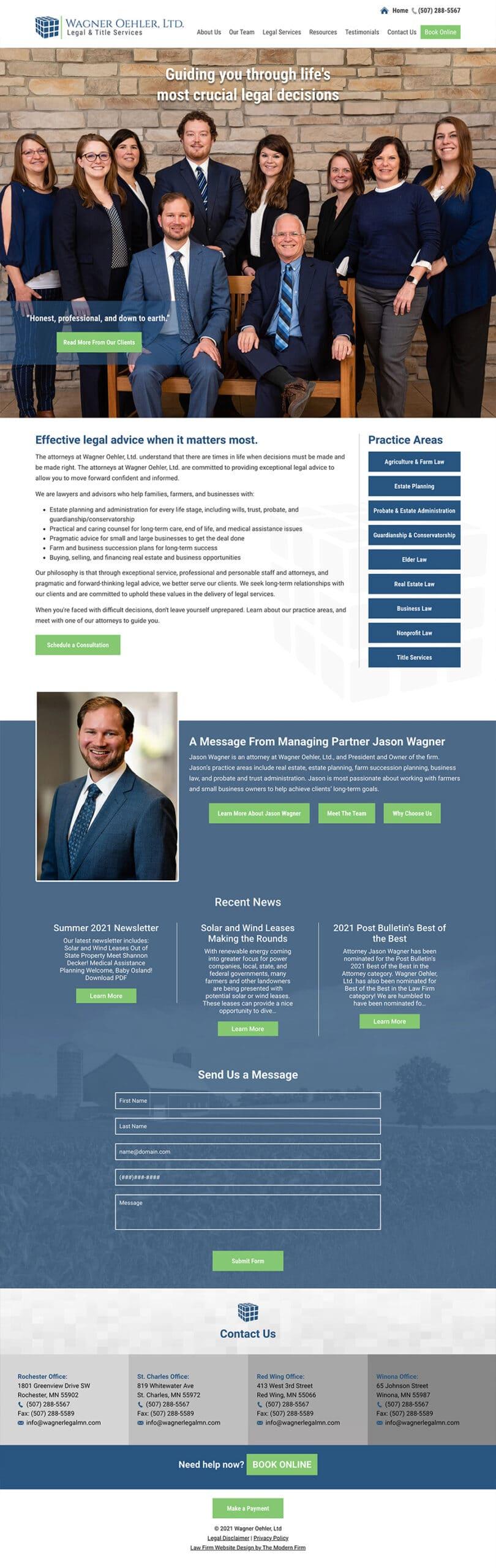 Law Firm Website Design for Wagner Oehler, Ltd