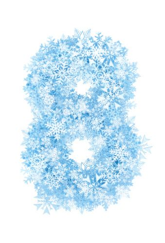 Number 8, frosty snowflakes